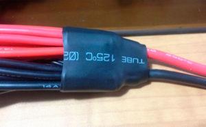 Стяжка жгута проводов термотрубкой