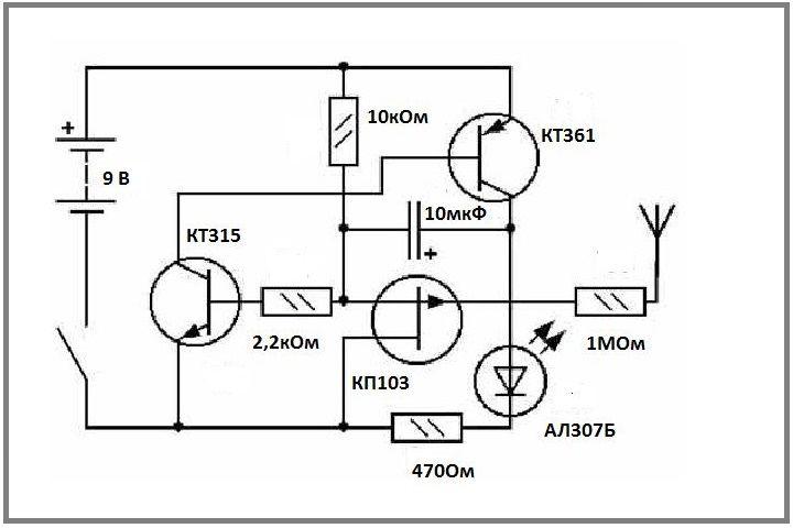 Детектор со световой сигнализацией