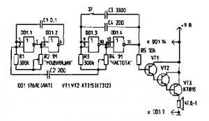 схема ультразвукового генератора на 40 КГц