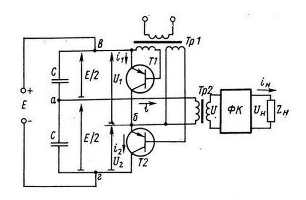 Схема полумостового ультразвукового генератора
