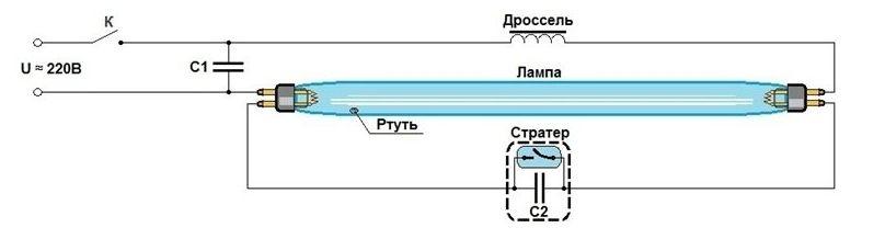Схема для одной лампы