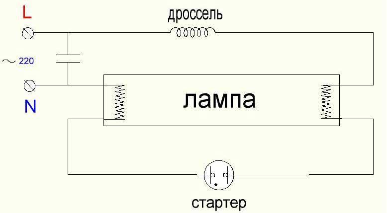 Схема включения ламп дневного света со стартером