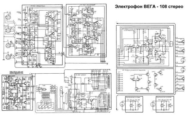 Схема электрофона Вега-108