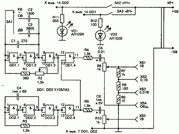 Микросхема К155ЛА3 с тремя диапазонами частоты